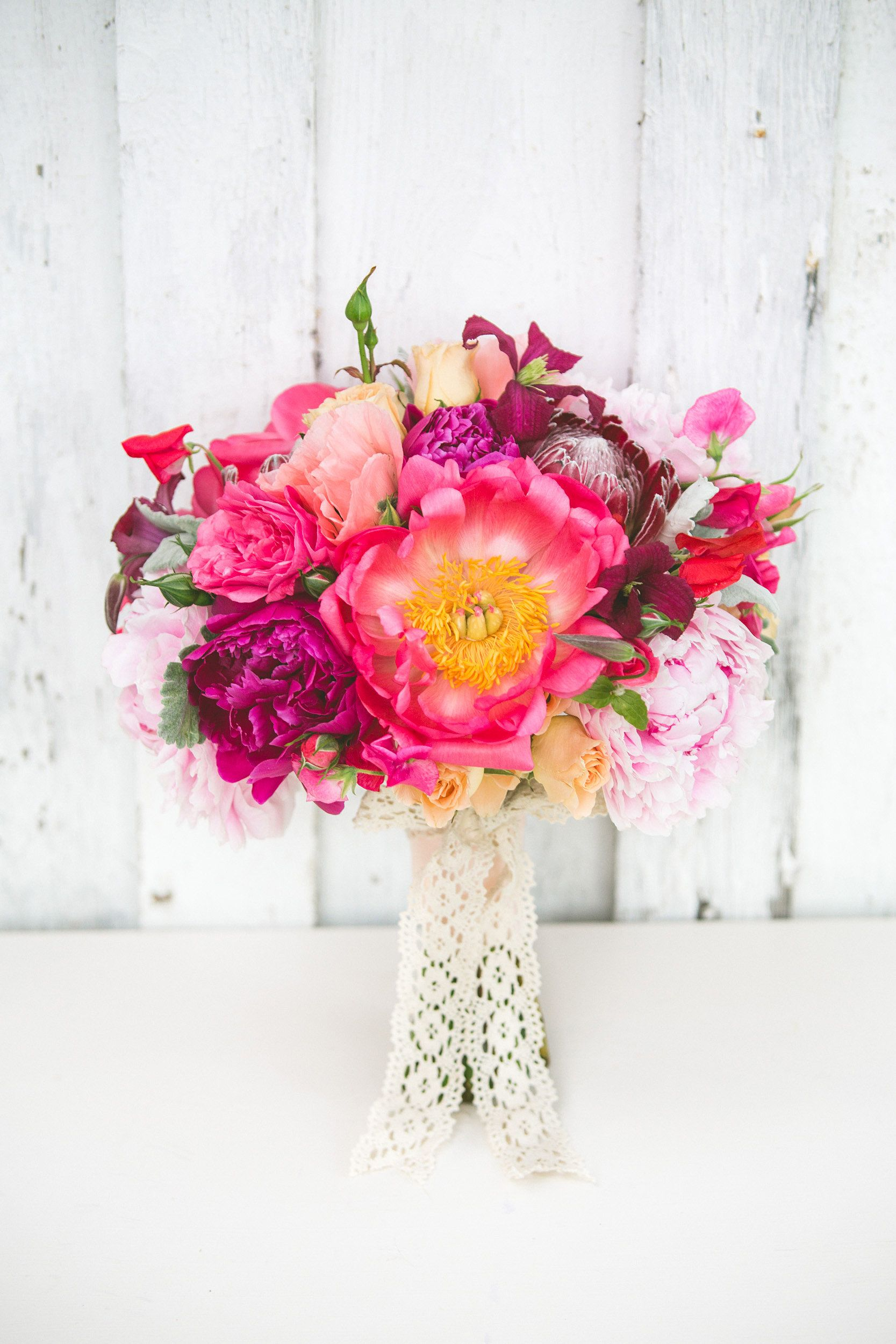 Peony, protea, roses, clematis