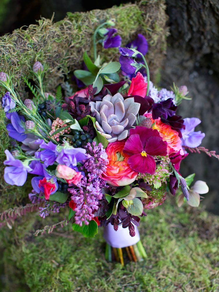 pansies, sweet peas, lilac and succulents and garden roses.